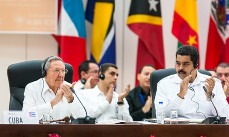 Raul Castro and Venezuelan President Nicolas Maduro at the summit on Ebola in Havana