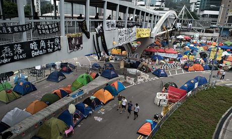 Hong Kong downtown protest camps