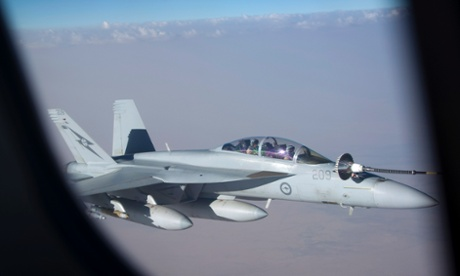 An Australian Super Hornet is refuelled over Iraq