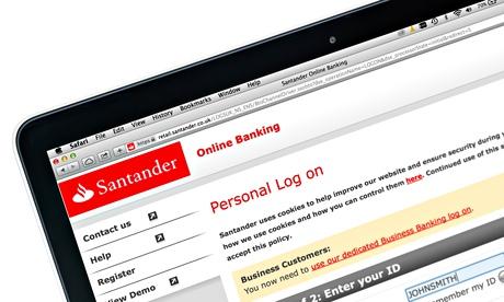 Santander online banking on a 13