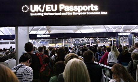 Passport control at a UK airport