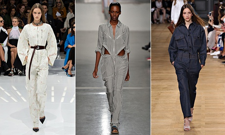 Boilersuit-type outfits from Christian Dior, Richard Nicoll, Chloé.