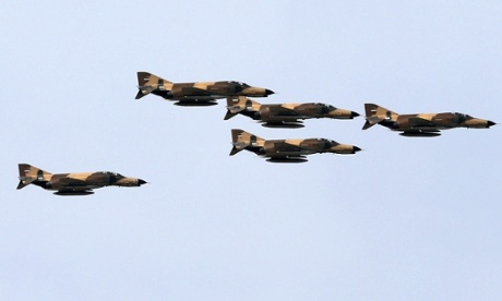 Iranian F-4 fighter jets fly during a military parade in April.