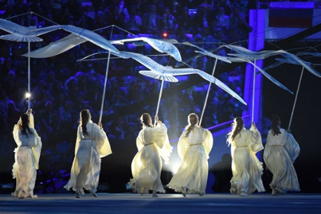 Dancers perform during the Closing Ceremony of the Sochi Winter Olympics at the Fisht Olympic Stadium.