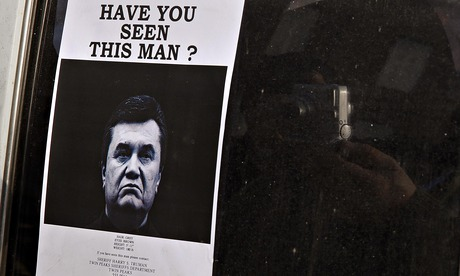 A wanted poster for Victor Yanukovich in Kiev