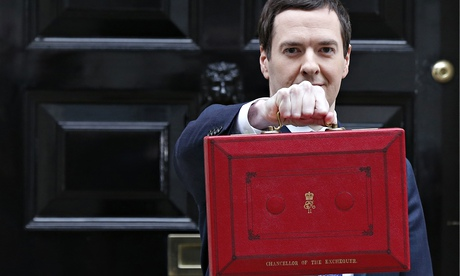 Same old stuff: George Osborne with his budget case outside No 11.