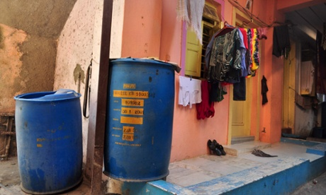 Typical big blue drums in Dharavi