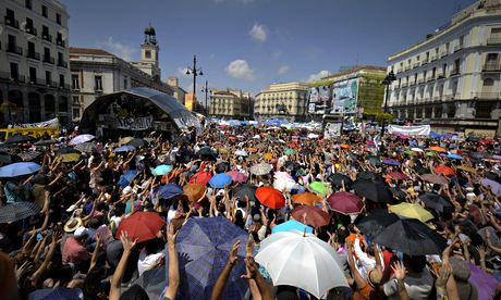 People protest in Madrid in 2011 against Spain's economic crisis and its sky-high jobless rate
