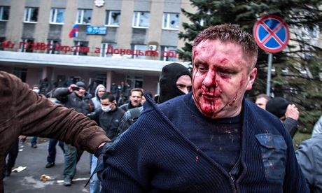 Andrey Krischenko, Horlivka chief of police, who was badly beaten after trying to hold off the mob