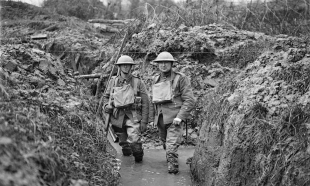 Lancashire Fusiliers in a flooded communication trench, showing wire. Opposite Messines, near Ploegsteert Wood. January 1917.