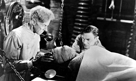 Ernerst Thesiger, left, with Colin Clive in the horror film The Bride of Frankenstein