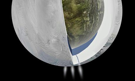 Artist's impression of the underground ocean on Enceladus