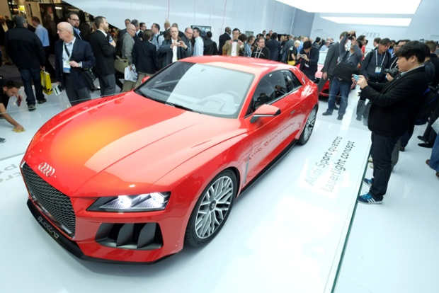 The Audi Quattro Sport Laserlight Concept is displayed during the 2014 International CES at the Las Vegas Convention Center on January 7, 2014 in Las Vegas, Nevada.