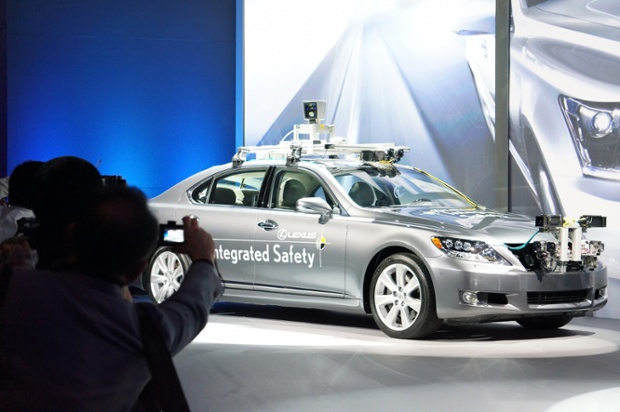 Toyota Motor Co displays the prototype driverless car during the preview of 2013 Consumer Electronics Show on January 7, 2013 in Las Vegas, Nevada.