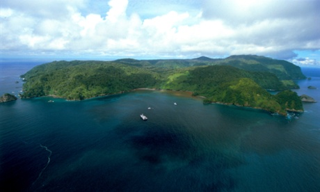 Aerial view of pristine 24 km2 Cocos island, with a surrounding sea area of 2000 km2, 500 km off the Pacific coast of Costa Rica.