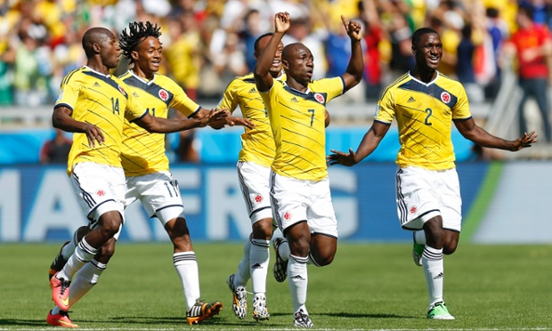 Colombia's Pablo Armero celebrates after scoring the first goal.