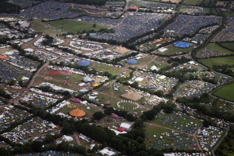 An aerial view of the Glastonbury Festival.