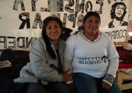 Demonstrators in the Carpa Villera housing protest.