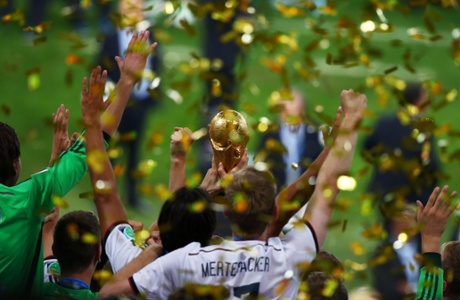 Germany lift the World Cup trophy for the fourth time.