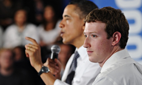 US president Barack Obama with Facebook founder Mark Zuckerberg