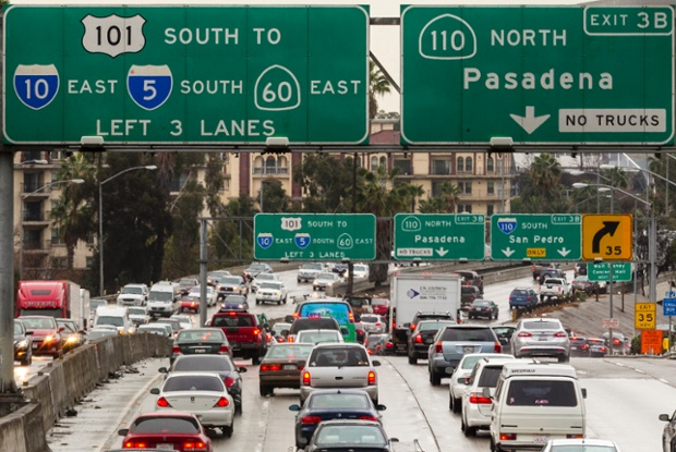 Eastbound Hollywood Freeway, US Highway 101, in downtown Los Angeles, the most congested highway in the state.
