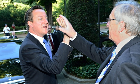 Jean-Claude Juncker with David Cameron: now Juncker needs to get a serious replacement for Cathy Ash
