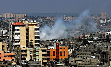 Smoke rises after an Israeli airs trike in Gaza City