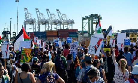 Pro-Palestinian protesters at the Port of Oakland