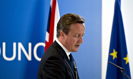 Prime minister David Cameron with and EU and Union Jack flag