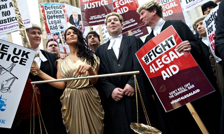 Lawyers demonstrate in March 2014 against legal aid cuts