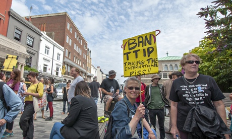 Protestors against the EU-US Transatlantic Trade and Investment Partnership in Brighton. Photograph: