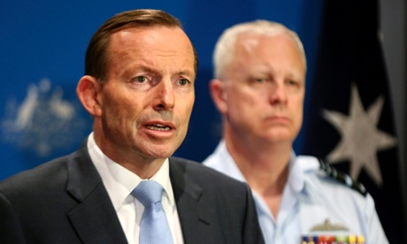 Tony Abbott (L) with chief of the Defence Force, Air Chief Marshal Mark Binski