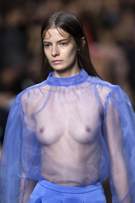 A model presents a creation from the Christopher Kane 2015 Spring / Summer