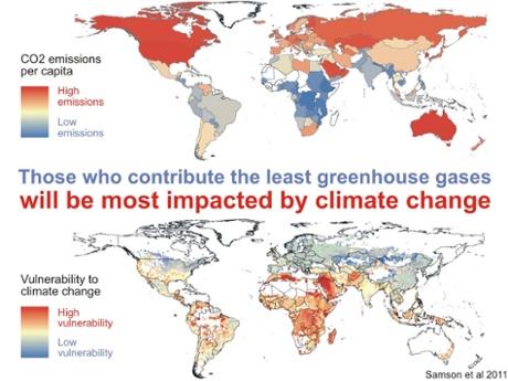 Top frame: national per capita carbon pollution emissions.  Bottom frame: Vulnerability Index from Samson et al. (2011).