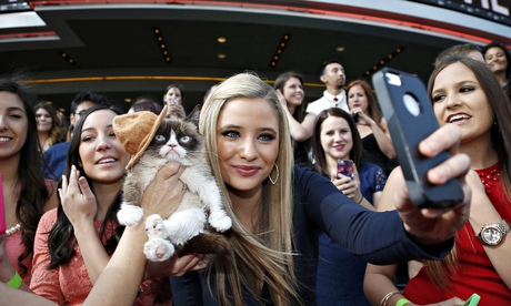 Grumpy Cat gets her photo taken with a fan as she arrives at the 2014 MTV Movie Awards