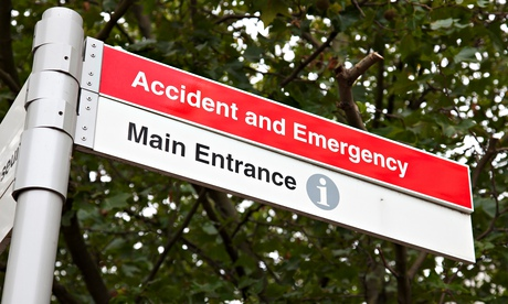 An Accident and Emergency Unit sign at a UK hospital.. Image shot 09/2014. Exact date unknown.