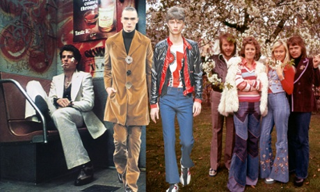 From right, John Travolta in Saturday Night Fever, 1977; the JW Anderson collection in January 2015; Topman model in January 2015; Abba in 1974.