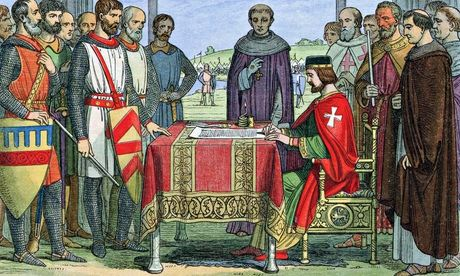 King John signs Magna Carta at Runnymeade, 15 June 1215.