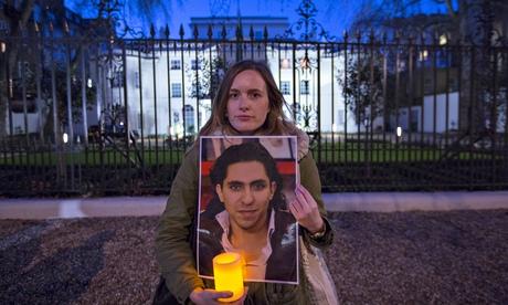 Vigil for Raif Badawi outside Saudi embassy, London