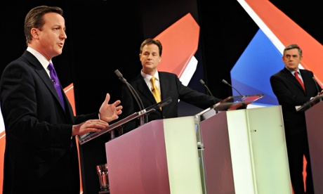 Cameron, Nick Clegg and Gordon Brown during the 2010 TV debates.