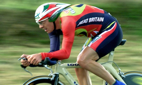 Dress like a champion: a shot of Chris Boardman in action at the Cycling World Championships in France in 2000.