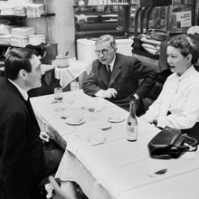 Lanzmann, left, with Jean-Paul Sartre and Simone de Beauvoir