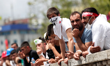 Turkey: protesters at entrance to Gezi Park