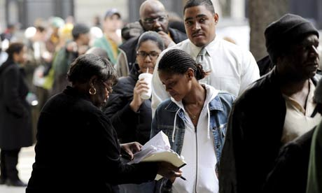 US election day: Black voters queueing