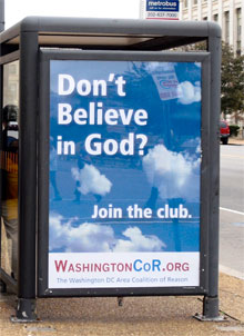 Washington DC nontheist, atheist bus shelter advert