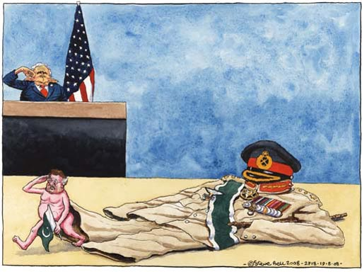 Steve Bell on Musharraf's exit