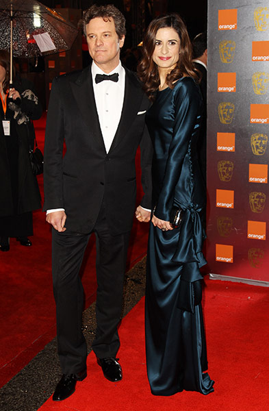 Baftas 2011: fashion: Colin and Livia Firth on the red carpet at the Baftas