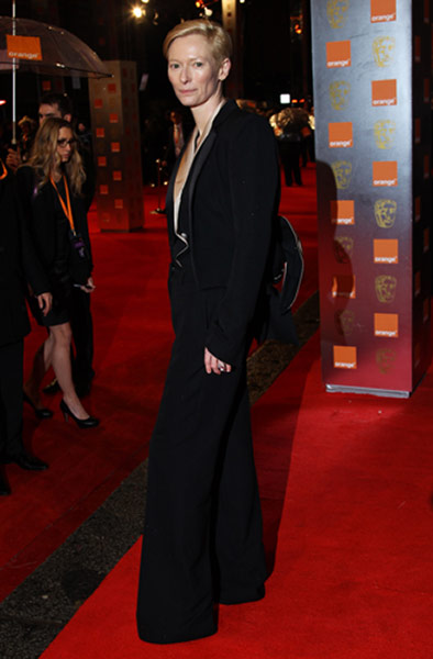 Baftas 2011: fashion: Tilda Swinton at the Baftas