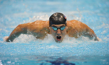 Michael Phelps of the US doing the butterfly at the 2012 Olympic Games.