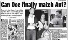 Daily Express Ant and Dec headline - first edition